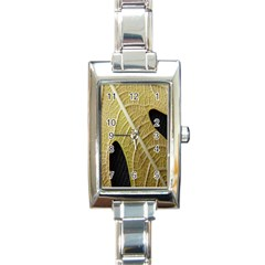 Yellow Leaf Fig Tree Texture Rectangle Italian Charm Watch