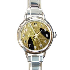 Yellow Leaf Fig Tree Texture Round Italian Charm Watch