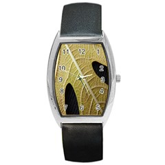 Yellow Leaf Fig Tree Texture Barrel Style Metal Watch by Nexatart