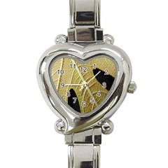 Yellow Leaf Fig Tree Texture Heart Italian Charm Watch