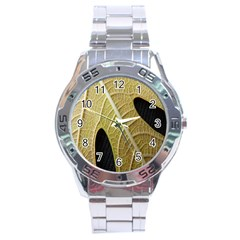 Yellow Leaf Fig Tree Texture Stainless Steel Analogue Watch by Nexatart
