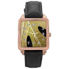 Yellow Leaf Fig Tree Texture Rose Gold Leather Watch