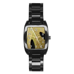 Yellow Leaf Fig Tree Texture Stainless Steel Barrel Watch