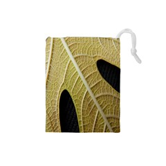 Yellow Leaf Fig Tree Texture Drawstring Pouches (small)  by Nexatart