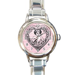 Heart Drawing Angel Vintage Round Italian Charm Watch