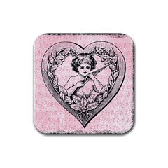 Heart Drawing Angel Vintage Rubber Square Coaster (4 Pack)  by Nexatart