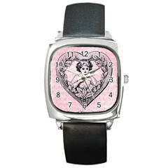 Heart Drawing Angel Vintage Square Metal Watch
