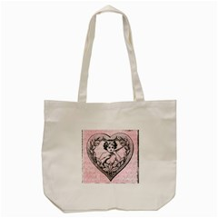 Heart Drawing Angel Vintage Tote Bag (cream)