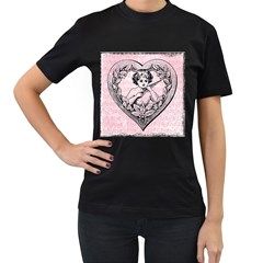 Heart Drawing Angel Vintage Women s T Shirt (black) by Nexatart