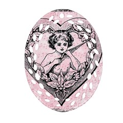 Heart Drawing Angel Vintage Oval Filigree Ornament (two Sides)