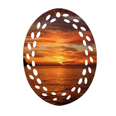 Sunset Sea Afterglow Boot Oval Filigree Ornament (two Sides)