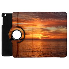 Sunset Sea Afterglow Boot Apple iPad Mini Flip 360 Case by Nexatart