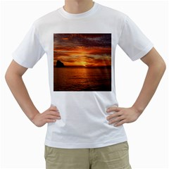 Sunset Sea Afterglow Boot Men s T Shirt (white)