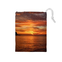 Sunset Sea Afterglow Boot Drawstring Pouches (medium)  by Nexatart