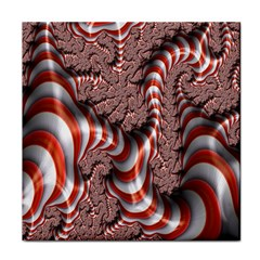 Fractal Abstract Red White Stripes Tile Coasters