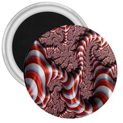 Fractal Abstract Red White Stripes 3  Magnets by Nexatart