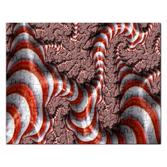 Fractal Abstract Red White Stripes Rectangular Jigsaw Puzzl