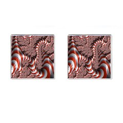 Fractal Abstract Red White Stripes Cufflinks (square) by Nexatart