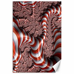 Fractal Abstract Red White Stripes Canvas 12  x 18