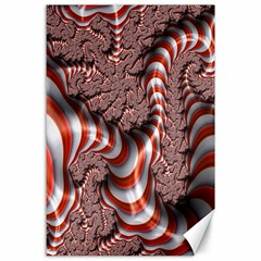 Fractal Abstract Red White Stripes Canvas 24  X 36