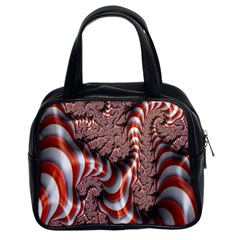 Fractal Abstract Red White Stripes Classic Handbags (2 Sides) by Nexatart