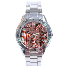 Fractal Abstract Red White Stripes Stainless Steel Analogue Watch by Nexatart