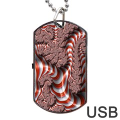 Fractal Abstract Red White Stripes Dog Tag Usb Flash (two Sides)