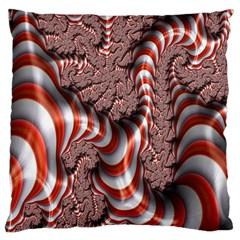 Fractal Abstract Red White Stripes Large Cushion Case (one Side)