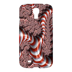 Fractal Abstract Red White Stripes Samsung Galaxy S4 I9500/i9505 Hardshell Case
