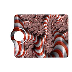 Fractal Abstract Red White Stripes Kindle Fire Hd (2013) Flip 360 Case