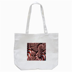 Fractal Abstract Red White Stripes Tote Bag (white) by Nexatart