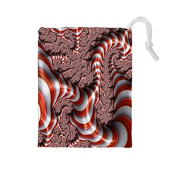 Fractal Abstract Red White Stripes Drawstring Pouches (large)