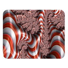 Fractal Abstract Red White Stripes Double Sided Flano Blanket (large)