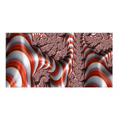 Fractal Abstract Red White Stripes Satin Shawl by Nexatart