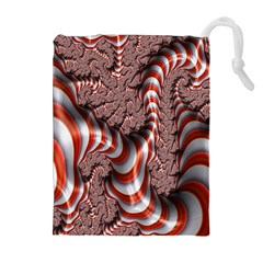 Fractal Abstract Red White Stripes Drawstring Pouches (extra Large) by Nexatart