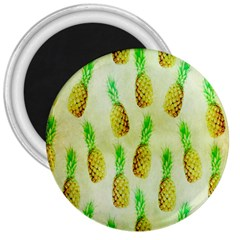 Pineapple Wallpaper Vintage 3  Magnets by Nexatart