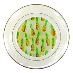 Pineapple Wallpaper Vintage Porcelain Plates by Nexatart