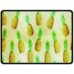 Pineapple Wallpaper Vintage Fleece Blanket (large)  by Nexatart