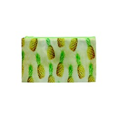 Pineapple Wallpaper Vintage Cosmetic Bag (xs) by Nexatart