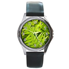 Fern Nature Green Plant Round Metal Watch by Nexatart