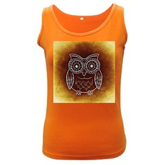 Owl Abstract Funny Pattern Women s Dark Tank Top