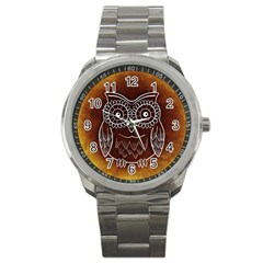 Owl Abstract Funny Pattern Sport Metal Watch by Nexatart