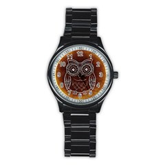 Owl Abstract Funny Pattern Stainless Steel Round Watch by Nexatart