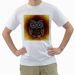 Owl Abstract Funny Pattern Men s T Shirt (white)