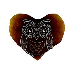 Owl Abstract Funny Pattern Standard 16  Premium Flano Heart Shape Cushions