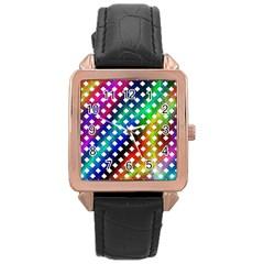 Pattern Template Shiny Rose Gold Leather Watch  by Nexatart