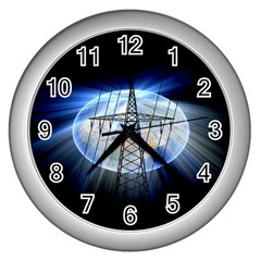 Energy Revolution Current Wall Clocks (silver)  by Nexatart