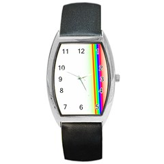 Rainbow Side Background Barrel Style Metal Watch