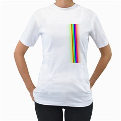 Rainbow Side Background Women s T Shirt (white)