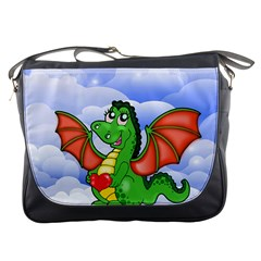Dragon Heart Kids Love Cute Messenger Bags by Nexatart